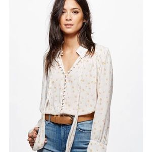 Free People Button-Front Floral Top
